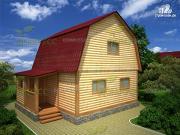 Фото: дом 6х6 из бруса, с мансардой и крыльцом