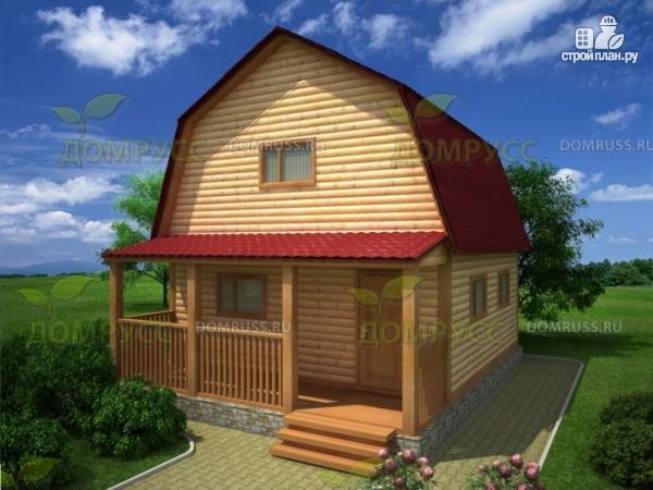 Фото: проект дом 6х6 из бруса с террасой и ломаной крышей