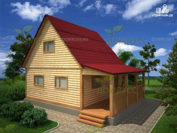 Фото: проект дом 6х8 из бруса с террасой