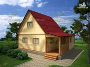 Проект брусовой дом 6х8 с крыльцом