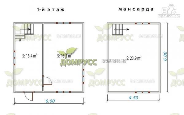 Фото 2: проект дом 6х6 из бруса, с просторной планировкой