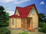 Проект дом 6х6 из бруса с эркером и кукушкой