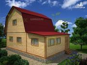 Фото: дом 6х9 из бруса с верандой