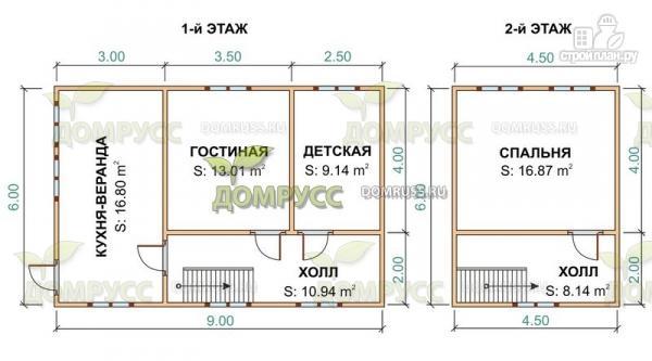 Фото 2: проект дом 6х9 из бруса с верандой