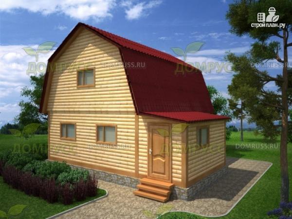 Фото: проект дом из бруса 7х8 с ломаной крышей