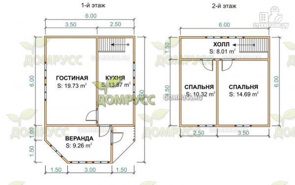 Фото 2: проект дом 6х6 из бруса с верандой