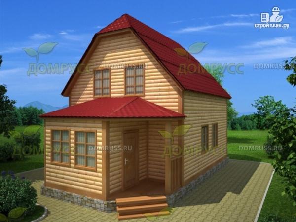 Фото: проект дом 6х6 из бруса с верандой