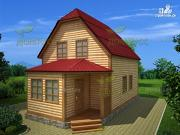 Проект дом 6х6 из бруса с верандой