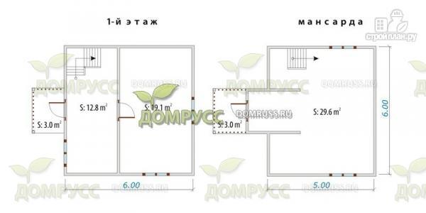 Фото 2: проект брусовой дом 6х6, с крыльцом и балконом