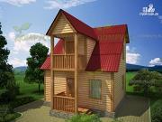 Фото: брусовой дом 6х6, с крыльцом и балконом