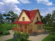 Фото: дом из бруса 9х9, с террасой