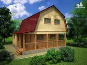 Проект дом из бруса с террасой и сенями 7.5х7.5