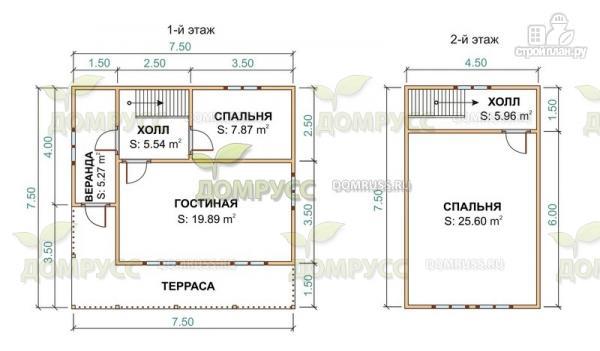 Фото 2: проект дом из бруса с террасой и сенями 7.5х7.5