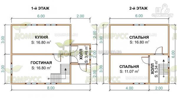 Фото 2: проект дом из бруса в два этажа 6х8