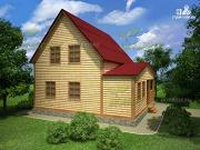 Фото: дом из бруса 8х8 с крыльцом
