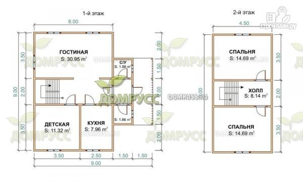 Фото 2: проект дом из бруса с тремя фронтонами 6х9