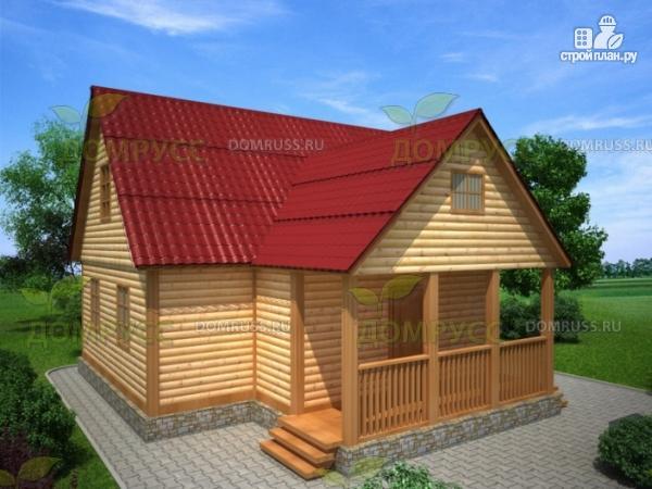 Фото: проект дом из бруса с тремя фронтонами 6х9