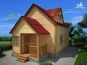 Фото: дом из бруса 6х9 с крыльцом