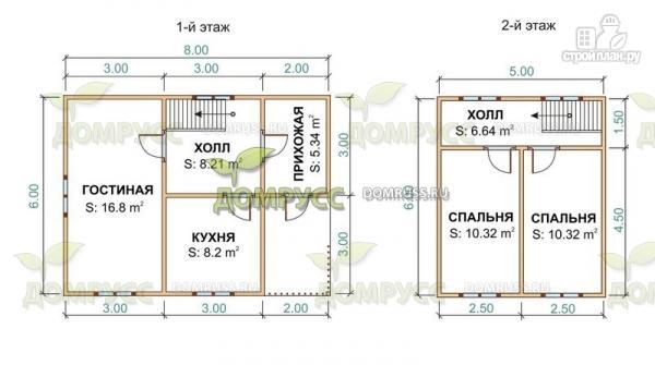 Фото 2: проект дом 6х8 из профилированного бруса 90х140 мм