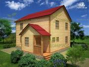 Фото: дом из бруса 7х9 с крыльцом