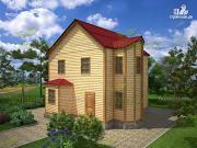 Проект дом из бруса в два этажа 7х8, с эркером