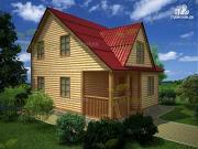 Фото: дом из бруса 6х8 с крыльцом