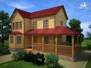 Фото: дом из бруса 8х12 с угловой террасой