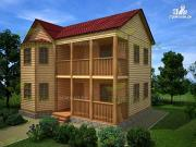 Проект дом из бруса 7х9, с балконом и эркером