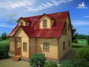 Проект дом из бруса 8х10  с двумя балконами