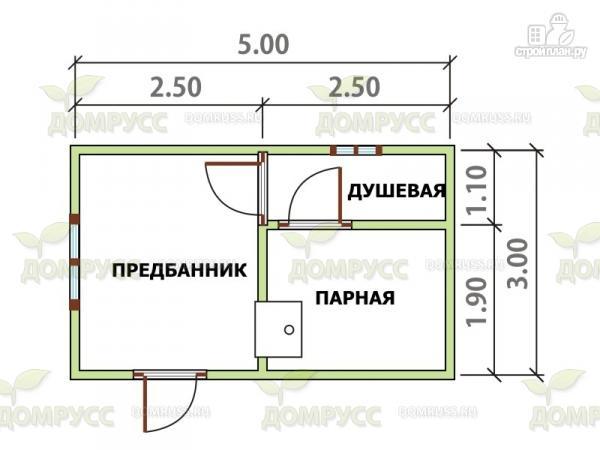 Фото 2: проект компактная баня из бруса 3х5