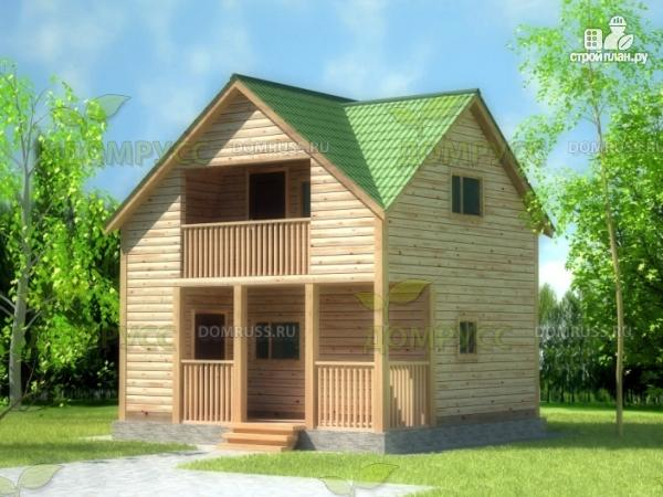 Фото: проект дом-баня из бруса с террасой и балконом