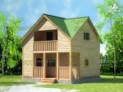 Фото: дом-баня из бруса с террасой и балконом