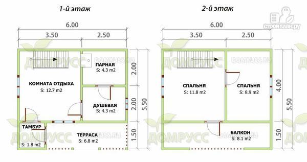 Фото 2: проект дом-баня из бруса с террасой и балконом