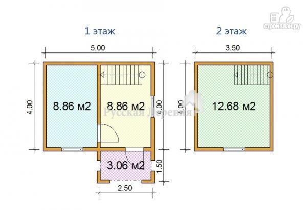 Фото 5: проект дачный домик 5х4 с крыльцом 2,5х1,5, мансардный