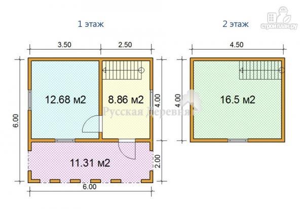 Фото 4: проект домик 6х4 с террасой 6х2, мансардный