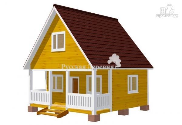 Фото 6: проект дачный домик 6х4,5 с террасой 6х1,5, мансардный, двухкомнатный