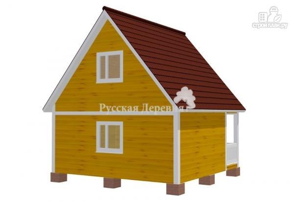 Фото 5: проект дачный домик 6х4,5 с террасой 6х1,5, мансардный, двухкомнатный