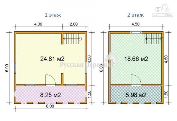 Фото 5: проект дачный домик 6х4,5 с террасой 6х1,5, балконом и мансардой