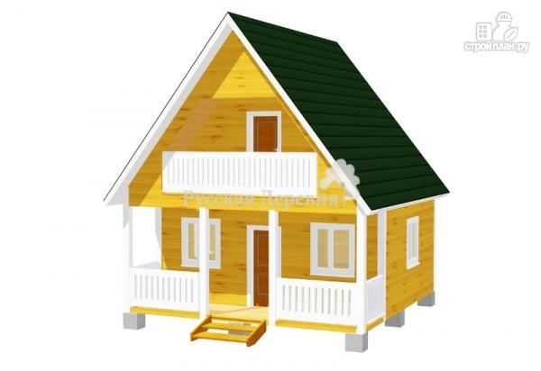 Фото: проект дачный домик 6х4,5 с террасой 6х1,5, балконом и мансардой
