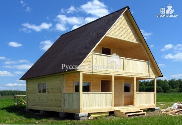 Фото 2: проект дачный домик 6х4,5 с террасой 6х1,5, балконом и мансардой