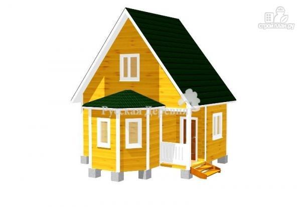 Фото: проект дом 4х6 с эркером, крыльцом 1,5х1,5 и мансардным этажом