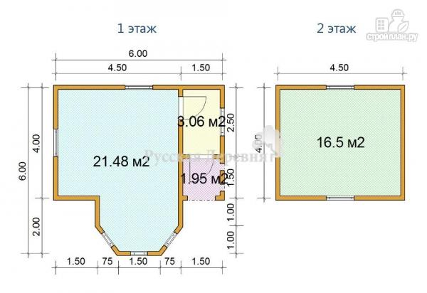 Фото 7: проект дом 4х6 с эркером, крыльцом 1,5х1,5 и мансардным этажом