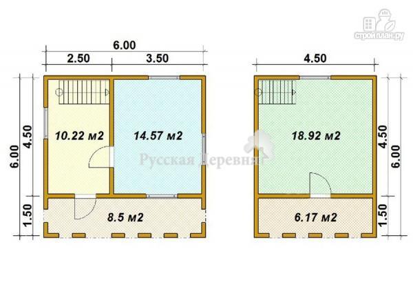 Фото 6: проект брусовой дом 6х4,5 с террасой 6х1,5 и балконом