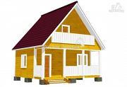 Проект брусовой дом 6х4,5 с террасой 6х1,5 и балконом