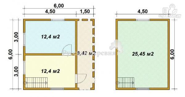 Фото 7: проект дачный дом 4,5х6 с террасой 1,5х6 и мансардным этажом