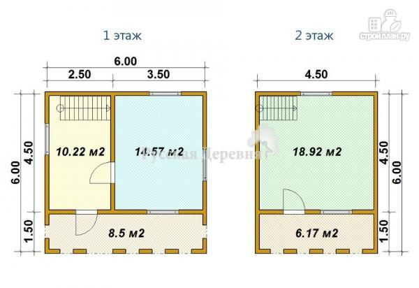 Фото 5: проект дачный домик 6х4,5 с террасой 6х1,5, мансардный с балконом