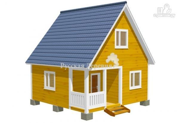 Фото 2: проект дом дачный 6х6 с крыльцом и мансардой