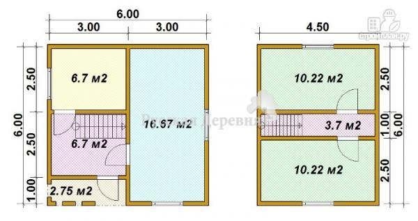 Фото 8: проект дом дачный 6х6 с крыльцом и мансардой