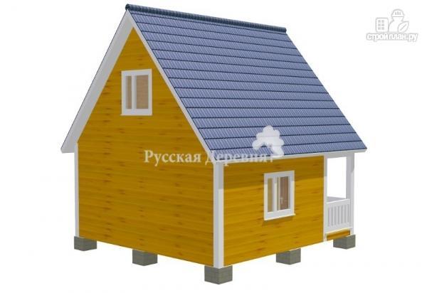 Фото 3: проект дом дачный 6х6 с крыльцом и мансардой