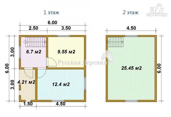 Фото 6: проект мансардный дом 6х6 с крыльцом 1,5х3